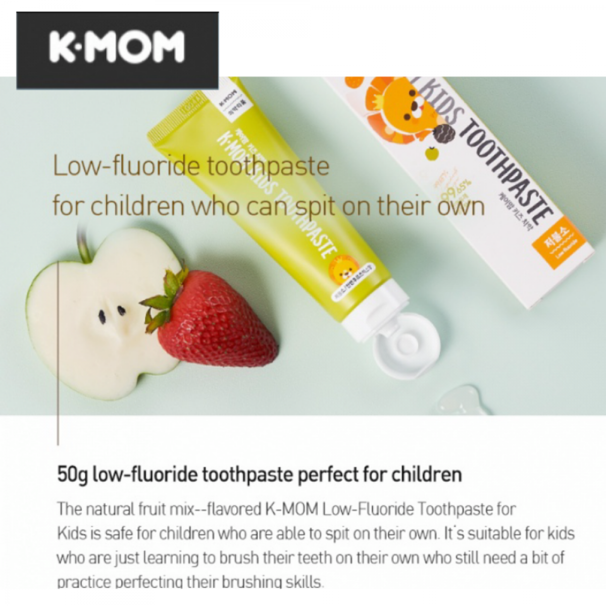 K-MOM Kids Toothpaste NON FLOURIDE or LOW FLOURIDE