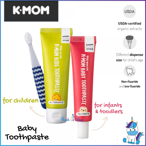 K-MOM Kids Toothpaste NON FLOURIDE or LOW FLOURIDE