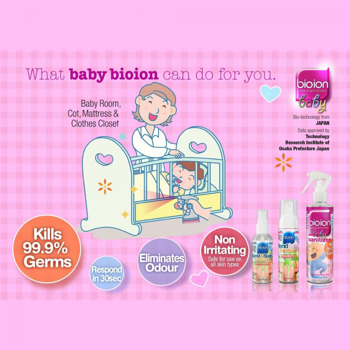 Bioion World Baby Germ-Free Sanitizer Non-Alcohol Water Based 250ml