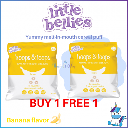 BUY 1 FREE 1 - Little Bellies Hoops and Loop Cereal 50g-Banana (Expiry:May/2020)