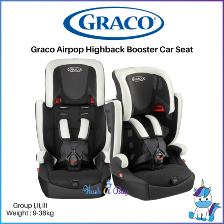 GRACO Airpop Booster Carseat with Harness (Black) 9-36kg