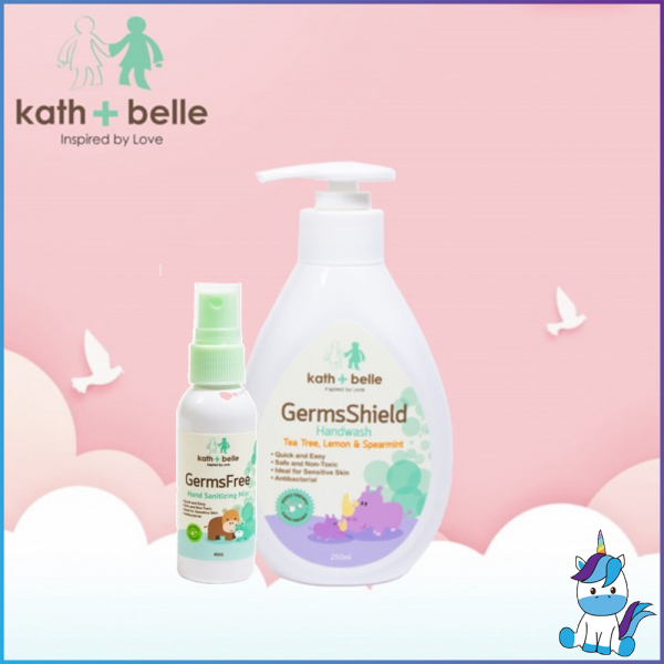 Kath + Belle GermsFree Hand Wash + Organic Hand Sanitizer Mist Spray Combo