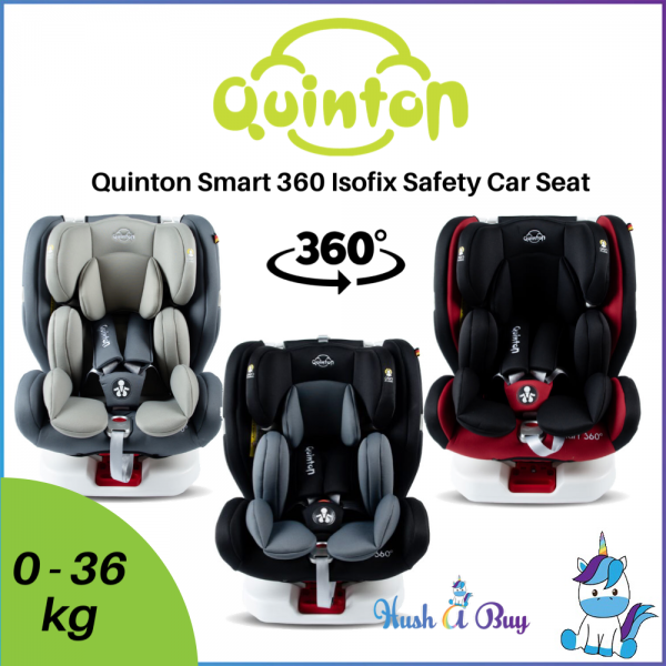 Quinton Smart 360° Isofix Safety Car Seat (Group 0+/1/2/3) 0-36kg - 3 Years Warranty with 1x1 Crash Exchange