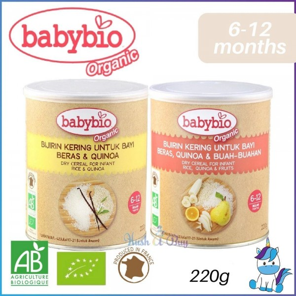 Babybio Organic Dry Cereal for Infant (Rice&Quinoa / Rice,Quinoa&Fruits) 6-12months 220g