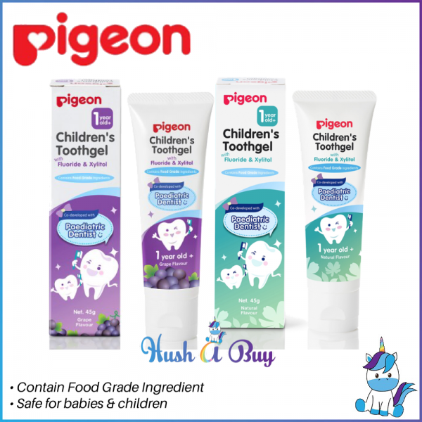 Pigeon Children's Toothgel with Fluoride & Xylitol 45g -12 mths and above GRAPE / NATURAL FLAVOR