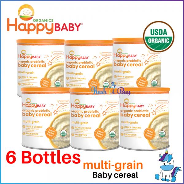 6 BOTTLES Happy Baby Organic Probiotic Baby Cereal - Multigrain