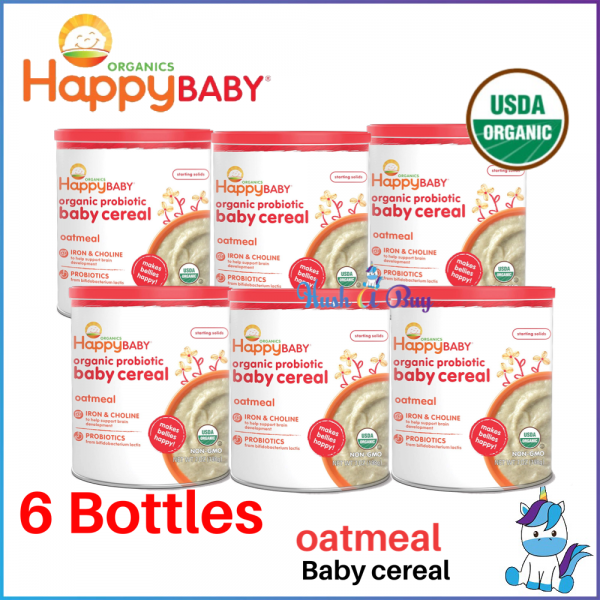 6 BOTTLES Happy Baby Organic Probiotic Baby Cereal - Oatmeal