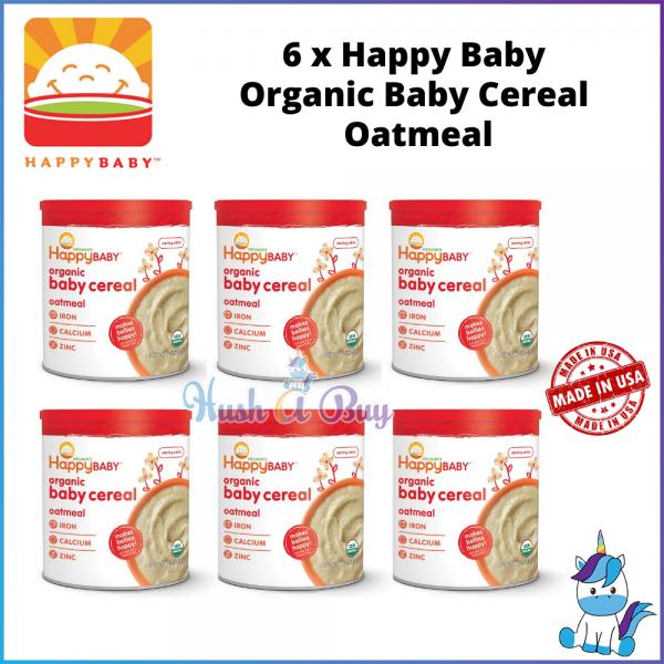 6 BOTTLES Happy Baby Organic Baby Cereal 198g - Oatmeal [PRODUCT OF USA]