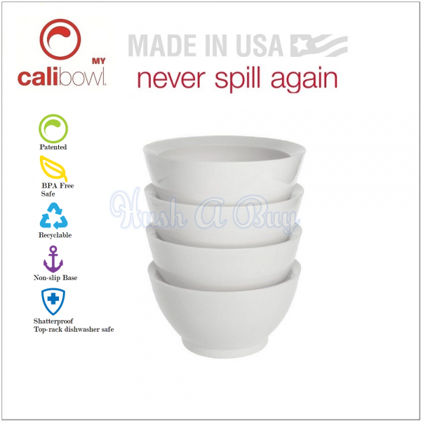 Calibowl 20oz Original with Non-Spill Non-Slip Base Set of 4 - White