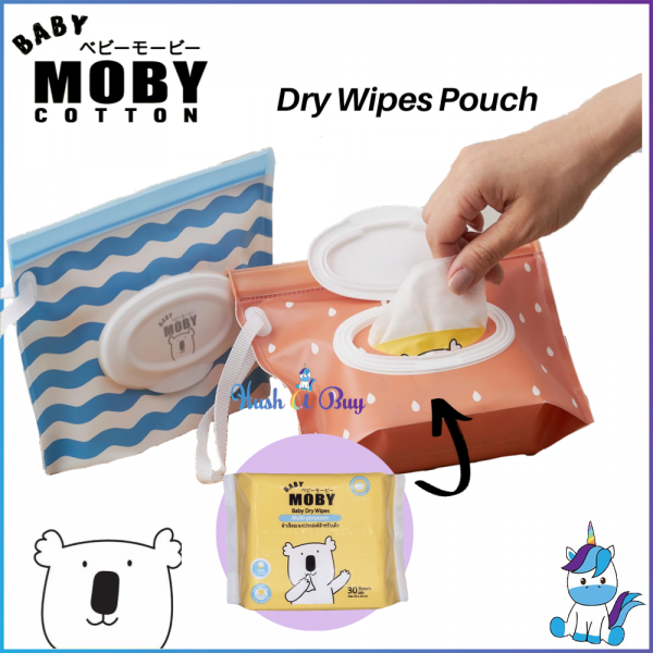 Baby Moby Multipurpose Wipes Pouch - Blue or Peach