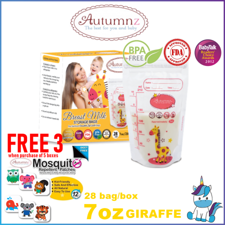 Autumnz Double ZipLock Breastmilk Storage Bag / Bag Susu (28 Bags) 3.5oz / 5oz / 7oz / 10oz / 12oz -FREE 3 AUTUMNZ MOISQUITOS PATCH WITH EVERY 5 BOX PURCHASED