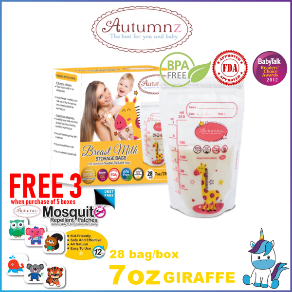 Autumnz Double ZipLock Breastmilk Storage Bag / Bag Susu (28 Bags) 3.5oz / 5oz / 7oz / 10oz / 12oz