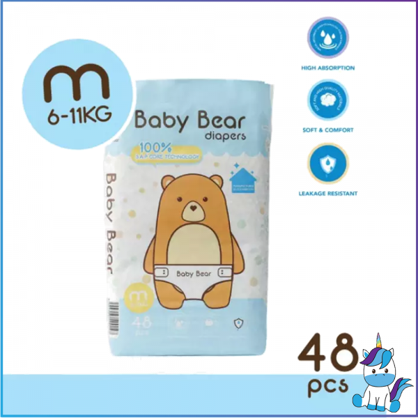 Baby Bear Diapers - Size M (48pcs)  6-11KG -  Manufactured in Clean Room