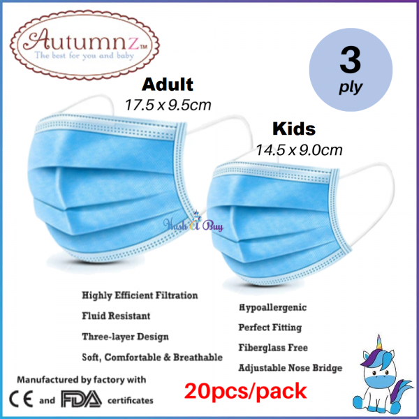 Autumnz Disposable Face Mask (3 Ply) with Ear Loops 20pc/pack - Adult or Kids