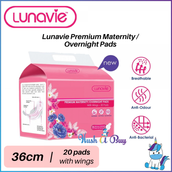 Lunavie Premium Maternity / Overnight Pads With Wings 36cm- 20pcs