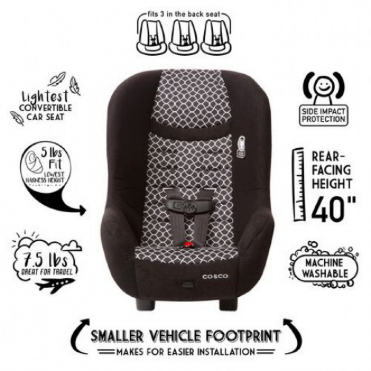 Cosco Scenera NEXT Convertible (3 Seat in a row & Extended Rear Facing)  Car Seat - Otto