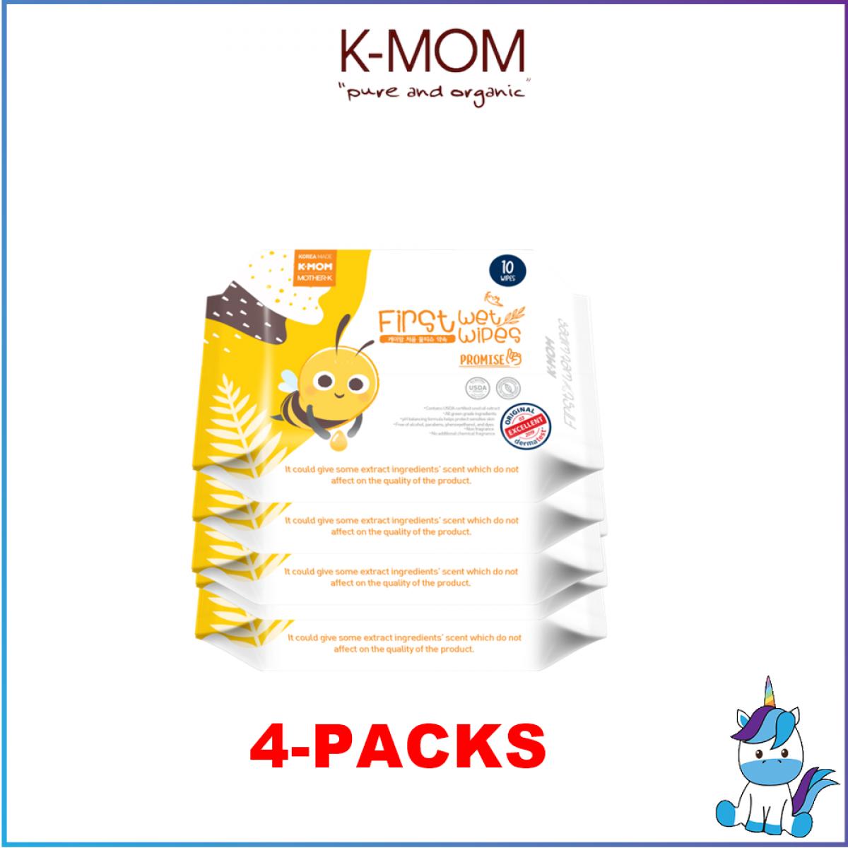 K-MOM First Wet Wipes Promise - 10pcs - 4 Packs
