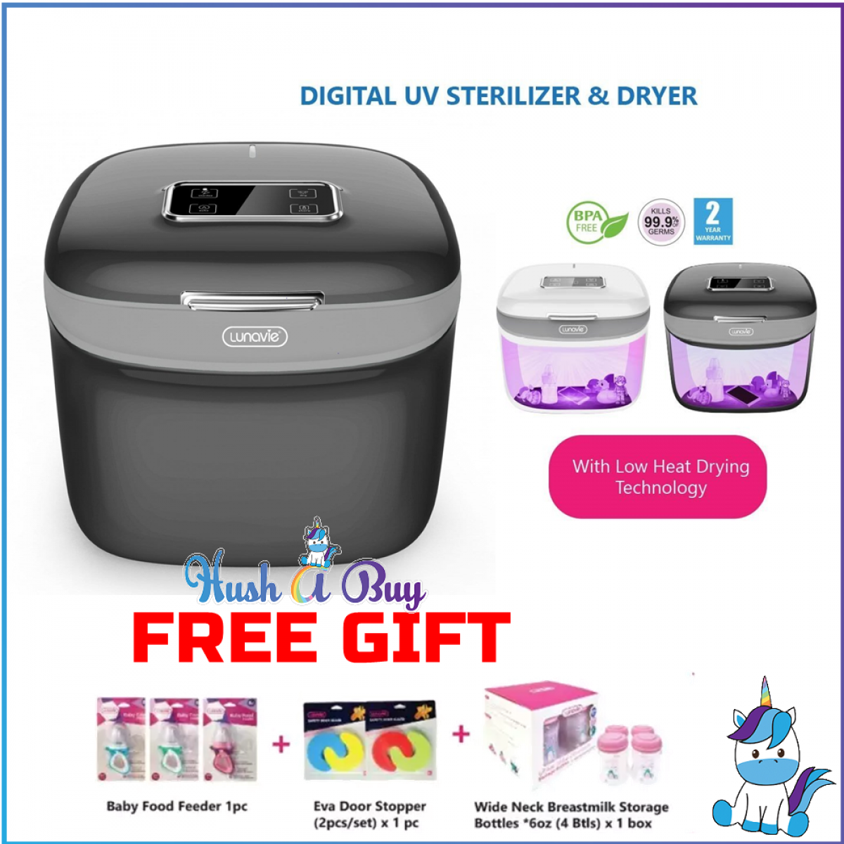 Lunavie Digital UV Sterilizer & Dryer (2 Years Warranty) with FREE GIFT (While Stock Last)