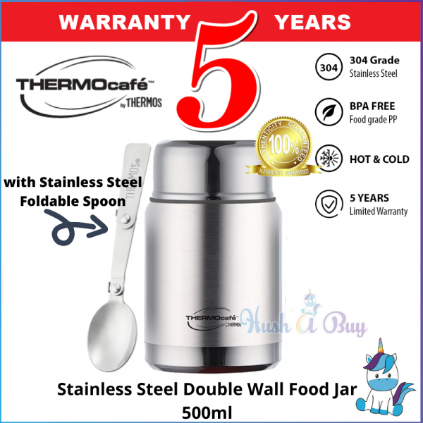 Thermos Thermocafe Stainless Steel Double Wall Food Jar (AE19-500FJ(P) with Stainless Steel Foldable Spoon- 5 Years Warranty