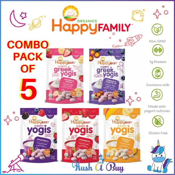 COMBO OF 5 - Happy Baby Organic Yogis/Greek Yogis/Yogis Snack (28g) - Strawberry Banana Blueberry Mango