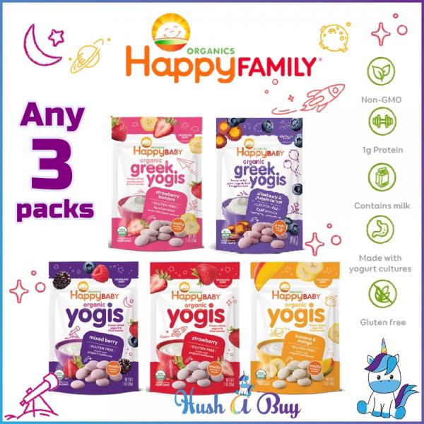 Happy Baby Organic Yogis/Greek Yogis/Yogis Snack (28g) - Strawberry Banana Blueberry Mango - Any 3 Packs