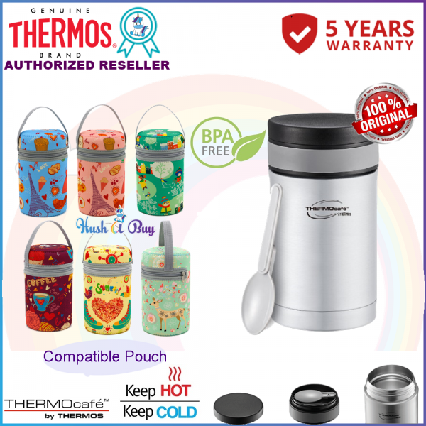 Thermos Thermocafe Basic Living Food Jar With PP Spoon 350ml with COMPATIBLE POUCH