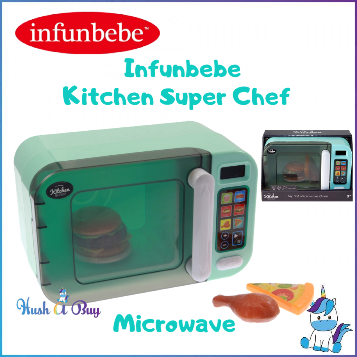 Infunbebe Kitchen Super Chef - Microwave Oven - 3 Years+ - Pretend Play