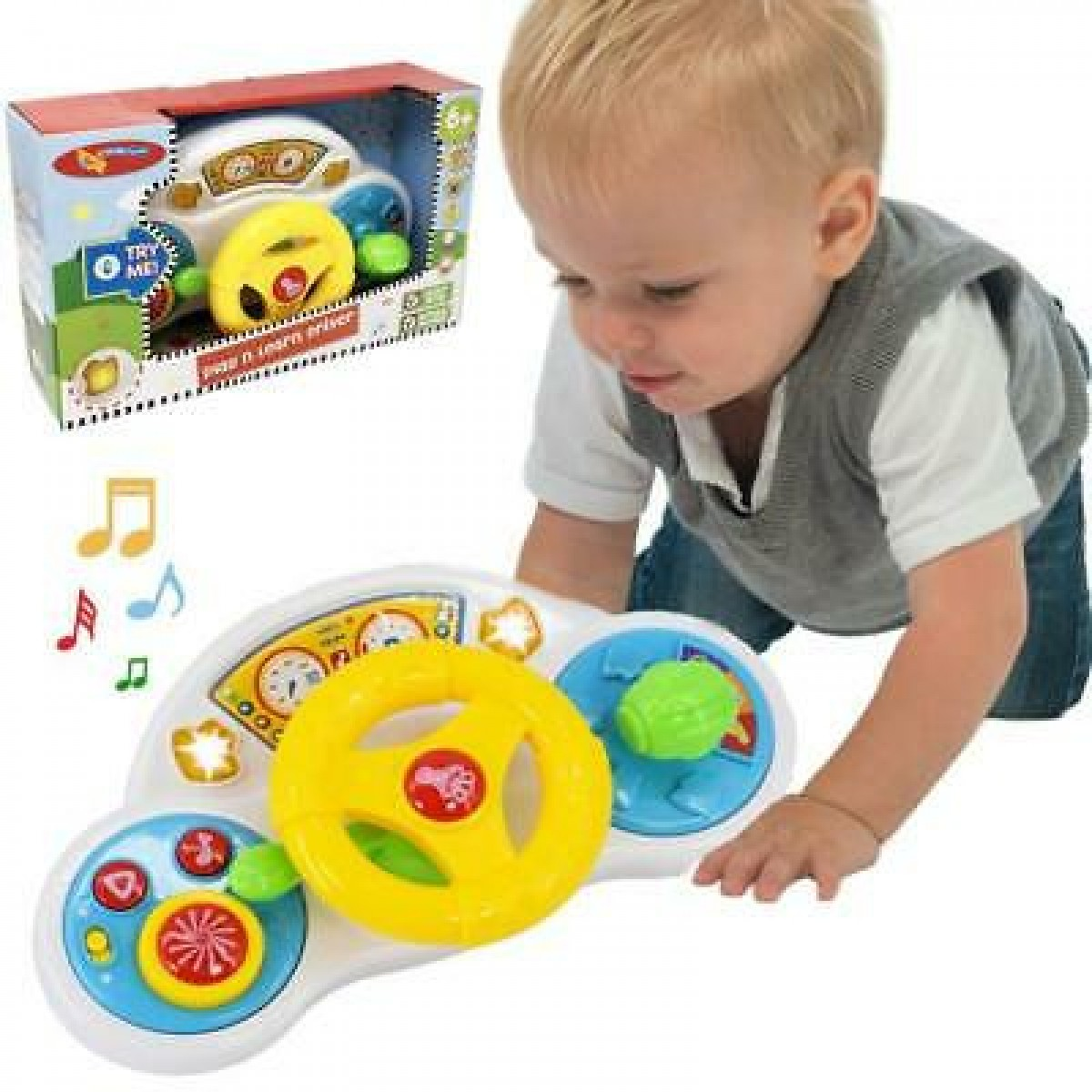Infunbebe Play N Learn Driver With Strap - Musical Sterring Wheel