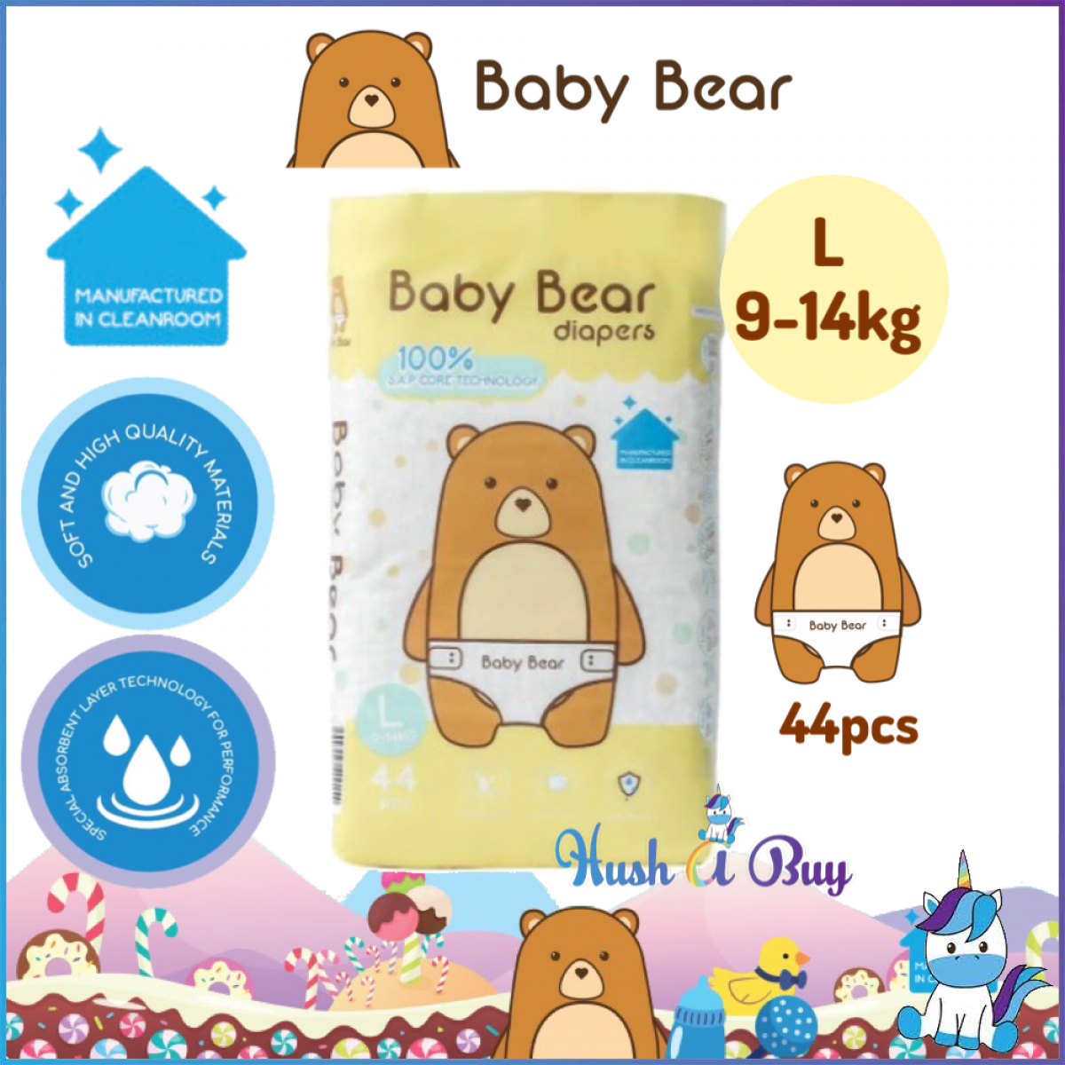 Baby Bear Diapers - Size L (44pcs)  9-14KG -  Manufactured in Clean Room