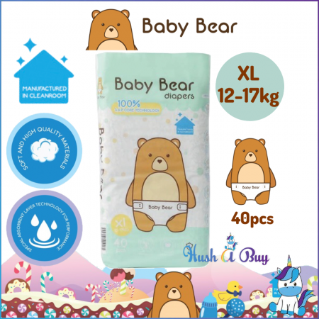 Baby Bear Diaper- Size XL (40pcs)12-17kg-Manufactured in Clean Room