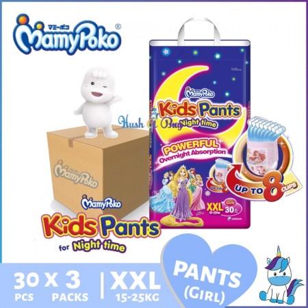 1 CTN (3 packs) MamyPoko Overnight Kids Pants XXL (30pcs) 15-25kg - Girls