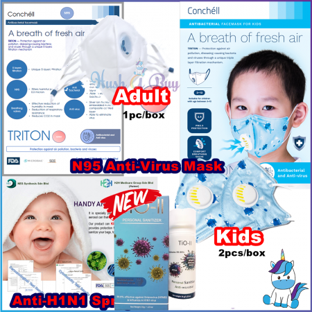 Conchell TRITON - Anti-Virus & Antibacteria Spray + Reusable Facemask Face Mask N95  for Adult (2pcs) and Kid (1pcs)