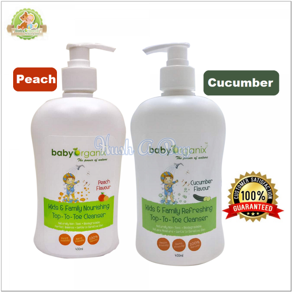 BabyOrganix Kids and Family Top To Toe Cleanser 400ml - Cucumber / Peach