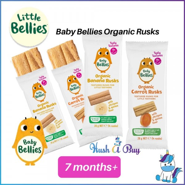 Baby Bellies Rusks 20gm - Carrot / Banana - For 7 Months & Above