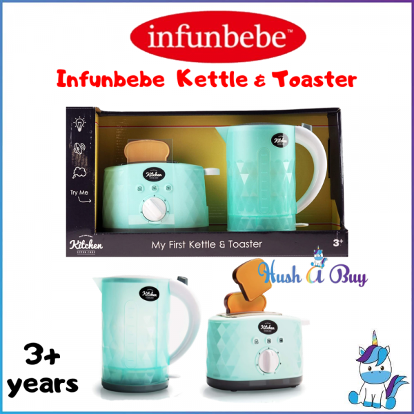 Infunbebe Kids Kettle and Toaster Toy Electronic Pretend Play Kitchen Appliance with Pop up Sounds My First Bread Slices Set for Toddlers
