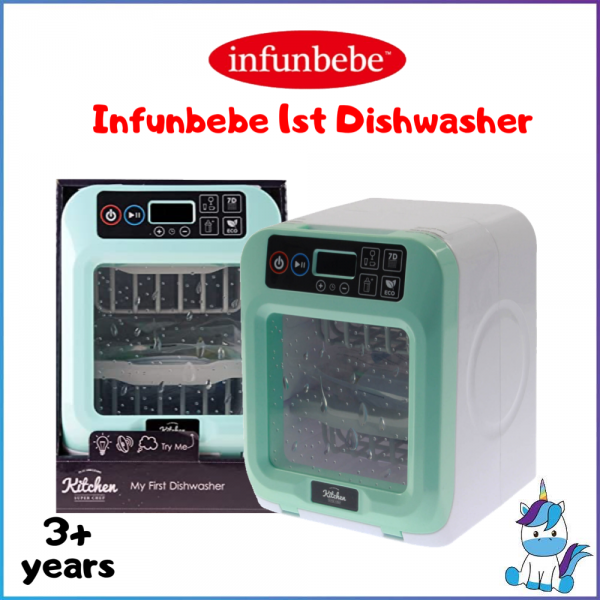 Infunbebe Light And Sound Dishwasher Kitchen Play Toy - With Utensils - 3 Years+