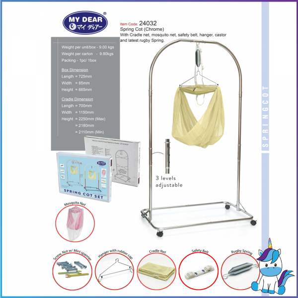 My Dear Spring Cot with Net (Chrome) - Full Set 24032
