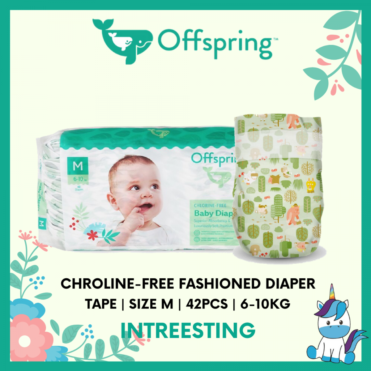 Offspring Chroline-Free Fashioned Tape Diaper M 42pcs - 9 Designs