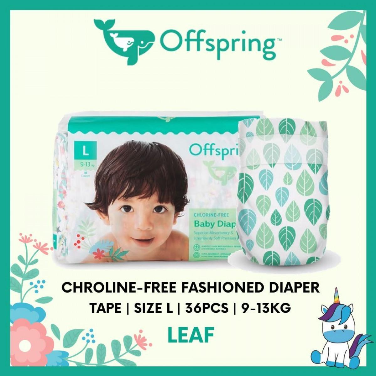 Offspring Chroline-Free Fashioned Tape Diaper L 36pcs - 9 Designs