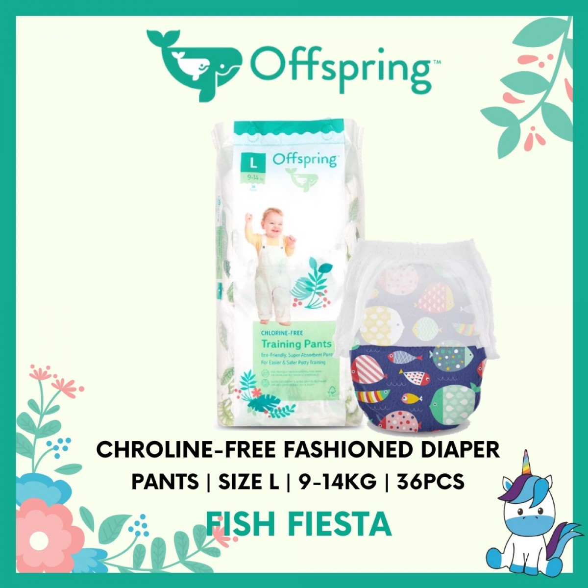 Offspring Chroline-Free Fashioned Pants Diaper L 36pcs - 9 Designs