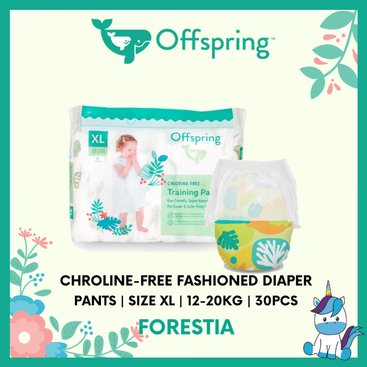 Offspring Chroline-Free Fashioned Pants Diaper XL 30pcs