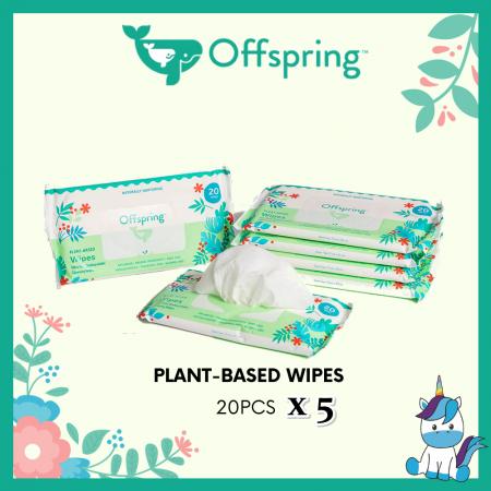 Offspring Premium Ultra-Soft Eco-Friendly Plant Based Wipes 20pcs x 5packs