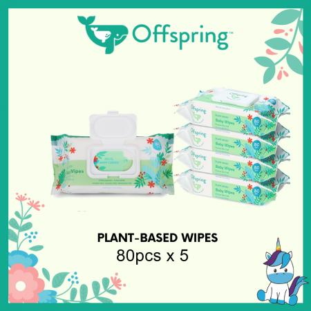 Offspring Premium Ultra-Soft Eco-Friendly Plant Based Wipes 80pcs x 5packs