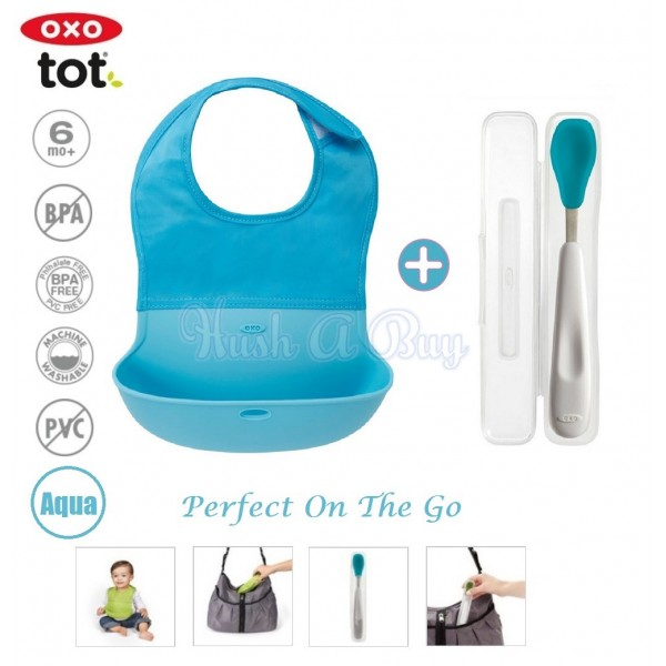 Oxo Tot On The Go - Roll Up Bib and Silicon Spoon with Cover (2 Colors Available)
