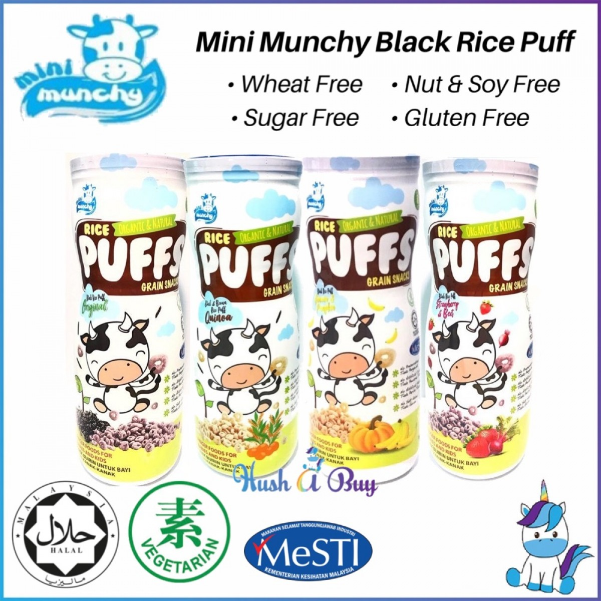 Combo of 4 - Mini Munchy Black Rice Puff - Halal (45gm) - for 8+ Months - Mixed Flavor