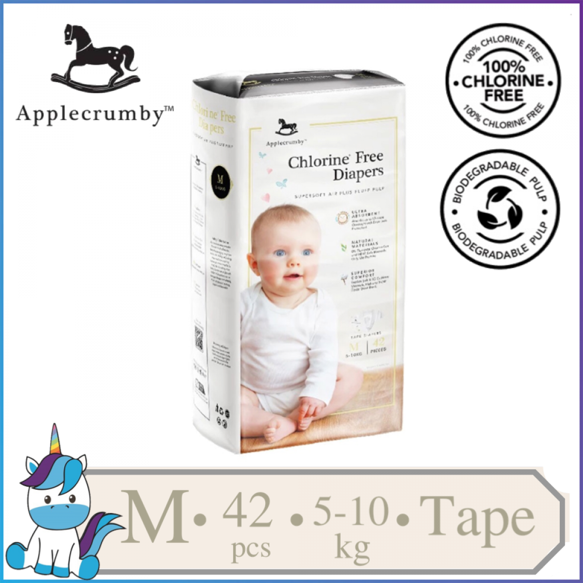 Applecrumby™ Chlorine Free Premium Baby Diapers Tape Size M || 42 pieces (5-0kg)