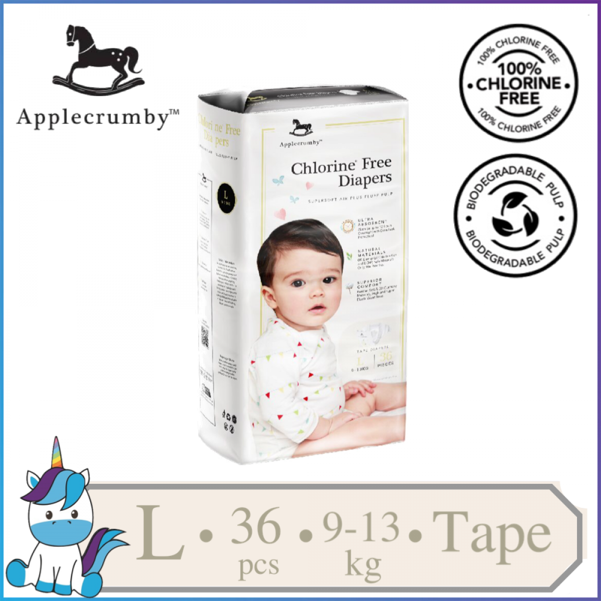 Applecrumby™ Chlorine Free Premium Baby Diapers Tape Size L || 36 pieces (9-13kg)