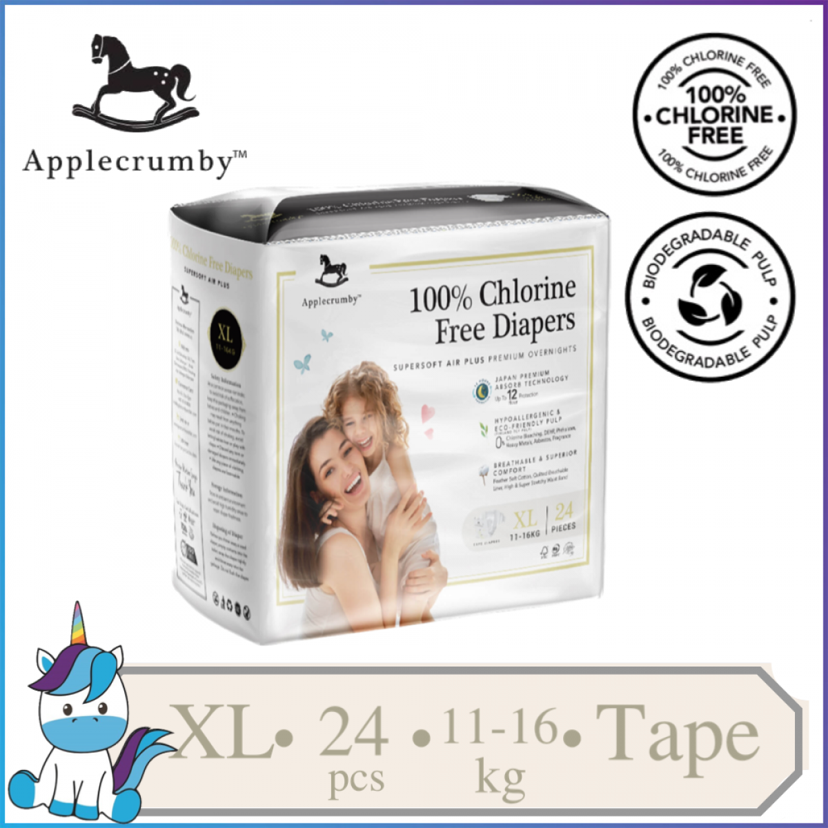 Applecrumby™ Chlorine Free Premium Baby Diapers Tape Size XL || 24 pieces (11-16kg)