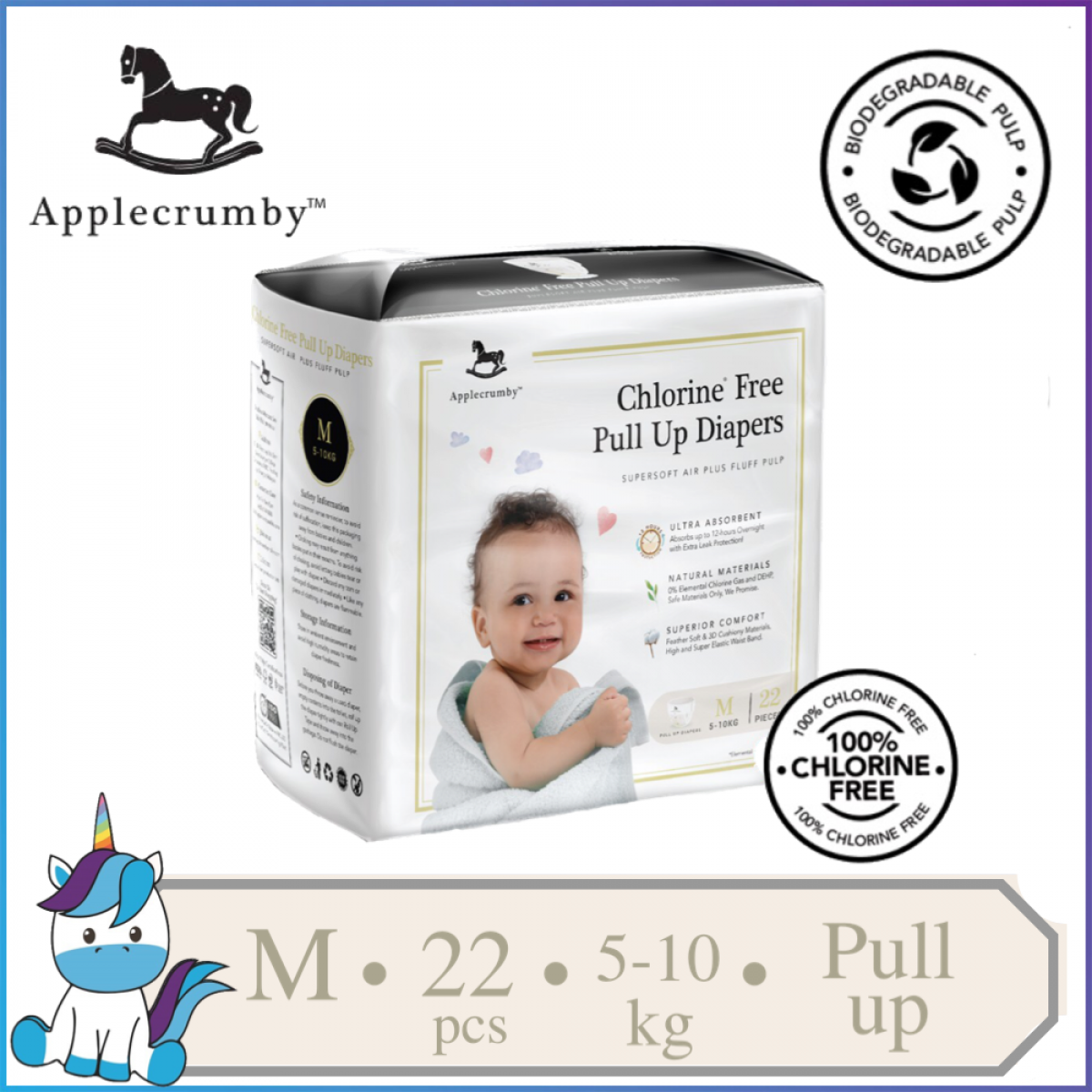 Applecrumby™ Chlorine Free Premium Baby Pull Ups Diapers Size M    22 pieces (5-10kg)