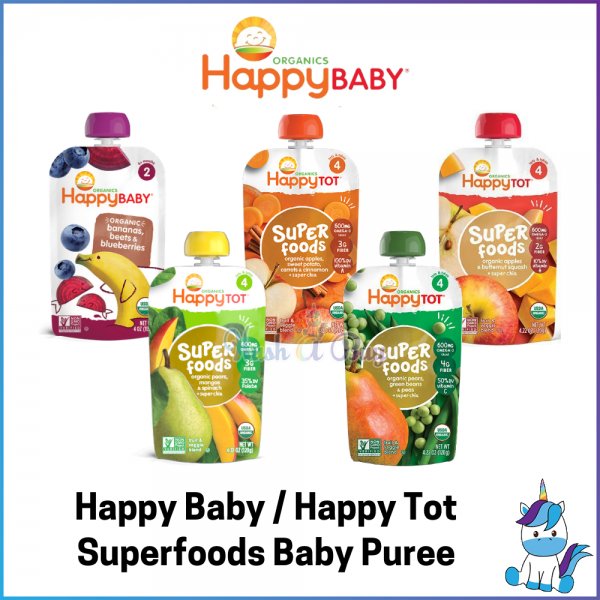 Happy Baby Organics / Happy Tot Superfood Baby Puree Pouch - Baby First Food - Baby Fruits and Veggies